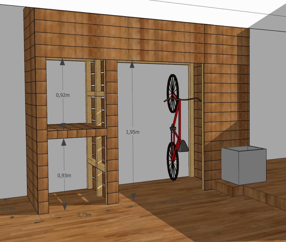 Meuble à vélo modélisé en 3D et construit sur mesure dans le patio Majorelle. © Kévin Clare paysagiste