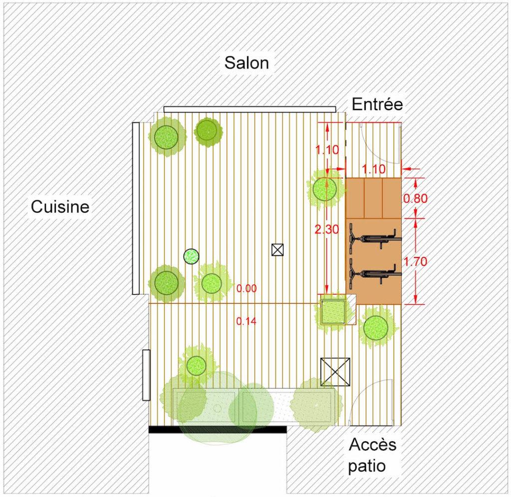Plan masse présentant le projet de patio avant démarrage des travaux. © Kévin Clare paysagiste