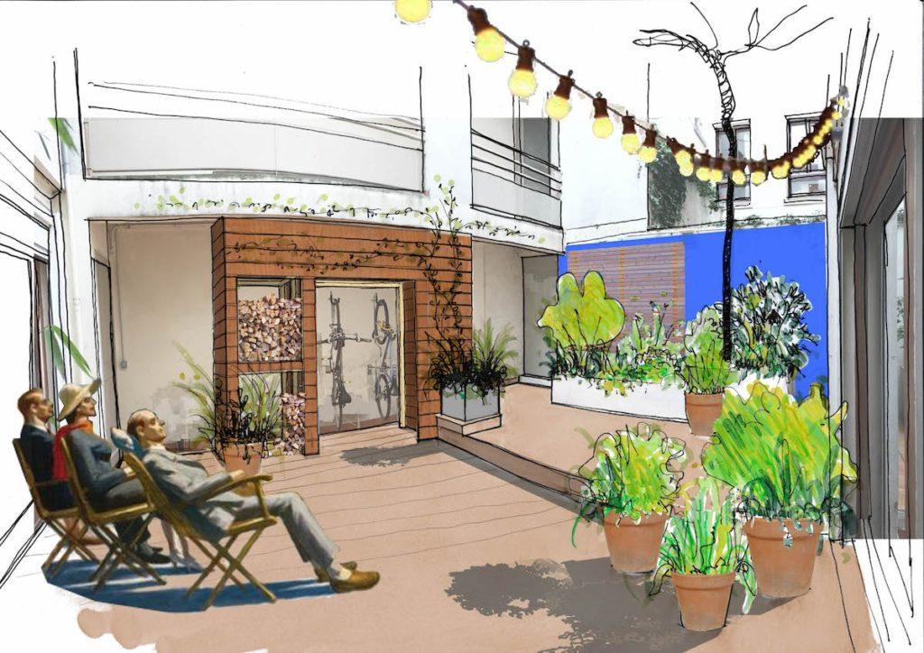 Croquis d'ambiance présenté lors du projet de patio. © Kévin Clare paysagiste